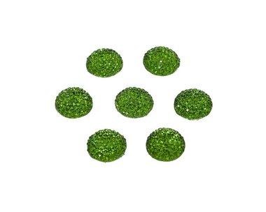Flatback glitter rond groen 15 x 3 mm (ca. 10 stuks)