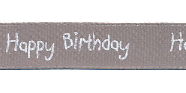 Grijs grosgrainband Happy Birthday 16 mm (ca. 20 m)