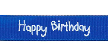 Kobalt blauw grosgrainband Happy Birthday 16 mm (ca. 20 m)