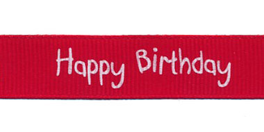 Rood grosgrainband Happy Birthday 16 mm (ca. 20 m)