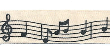 Ongebleekt katoenen bandje met muzieknoten 20 mm (ca. 20 m)