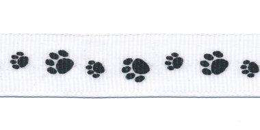 Wit grosgrainband met zwarte hondenpootjes 16 mm (ca. 20 m)
