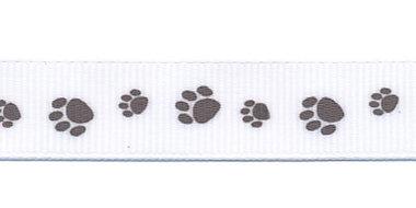Wit grosgrainband met taupe hondenpootjes 16 mm (ca. 20 m)