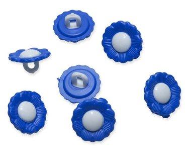 Bloemknoopje kobalt blauw met wit hart 15 mm (ca. 50 stuks)