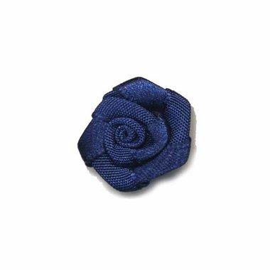 Roosje satijn donker blauw 20 mm (ca. 25 stuks)