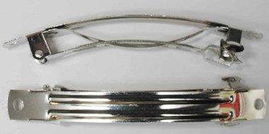 French barette / french clip zilverkleurig 8 cm  (10 stuks)