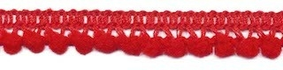 Mini pompomband rood 10 mm (ca. 32 meter)