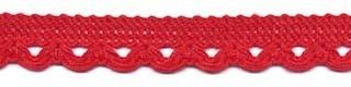 Sierband met lus-/schulprandje rood 12 mm (ca. 32 meter)