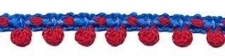 2-kleurig bolletjesband blauw-rood 10 mm (ca. 16 meter)