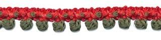 2-kleurig bolletjesband rood-legergroen 10 mm (ca. 16 meter)