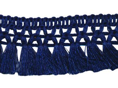 Franje-kwastjesband donker blauw ca. 32 mm (ca. 16 meter)