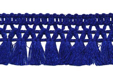Franje-kwastjesband kobalt blauw ca. 32 mm (ca. 16 meter)