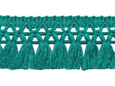 Franje-kwastjesband zeegroen ca. 32 mm (ca. 16 meter)