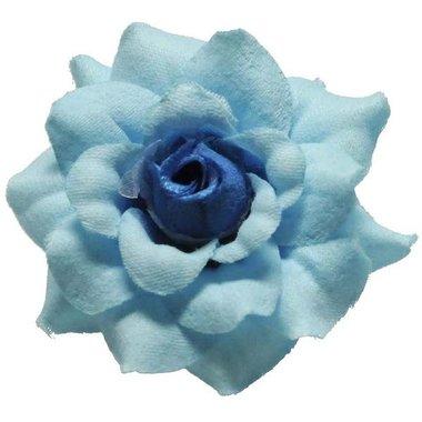 Roos blauw stof ca. 4,5 cm (10 stuks)