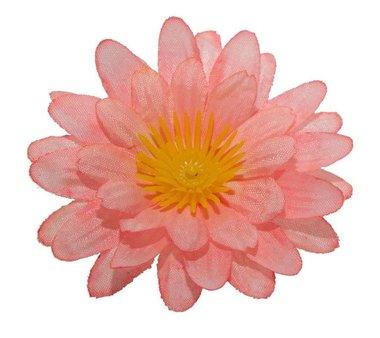 Gerbera peach stof klein ca. 6,5 cm (10 stuks)
