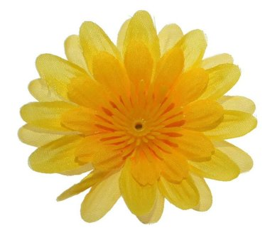Gerbera geel stof klein ca. 6,5 cm (10 stuks)