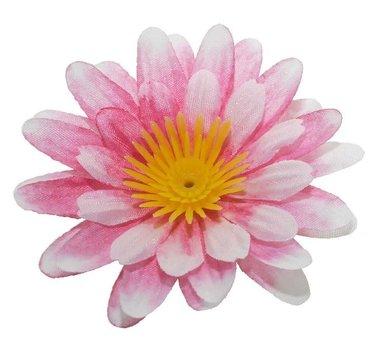 Gerbera wit-roze stof klein ca. 6,5 cm (10 stuks)