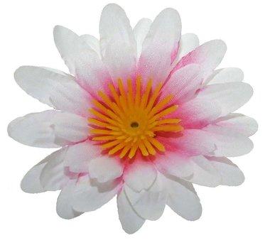 Gerbera wit met roze hart stof klein ca. 6,5 cm (10 stuks)