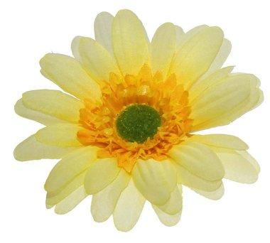 Gerbera geel stof groot ca. 10 cm (5 stuks)