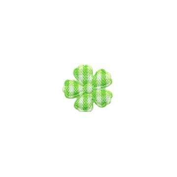 Applicatie geruite bloem groen-wit mini 15 mm (ca. 100 stuks)