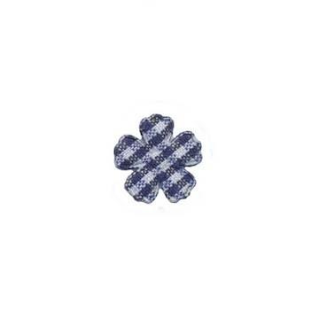 Applicatie geruite bloem donker blauw-wit mini 15 mm (ca. 100 stuks)