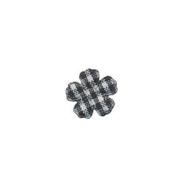 Applicatie geruite bloem zwart-wit mini 15 mm (ca. 100 stuks)