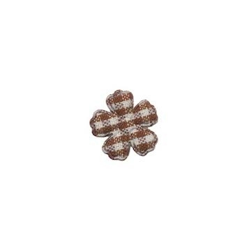 Applicatie geruite bloem bruin-wit mini 15 mm (ca. 100 stuks)