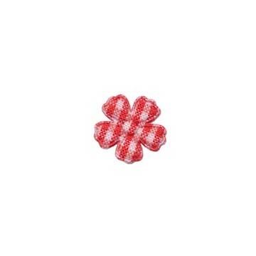 Applicatie geruite bloem rood-wit mini 15 mm (ca. 100 stuks)