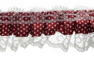 Roezel kant wit-bordeaux rood met polkadot 50 mm (ca. 10 meter)