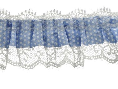 Roezel kant wit-licht blauw met polkadot 50 mm (ca. 10 meter)