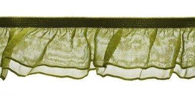 Legergroen roezel elastiek met dubbele roezel ca. 27 mm (ca. 10 meter)