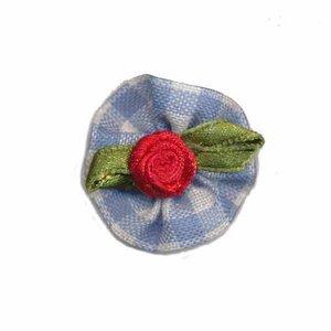 Roosje satijn rood op blauw geruit blad 25 mm (10 stuks)