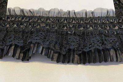 Elastische roezel zwart 70 mm (5 meter)