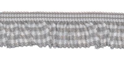 Grijs-wit geruite roezel elastiek 19 mm (ca. 10 meter)