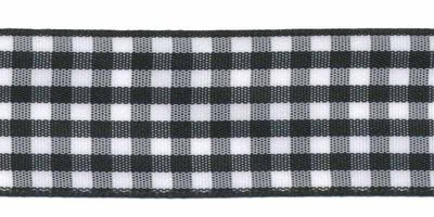 Ruit band zwart-wit 25 mm (ca. 45 m)
