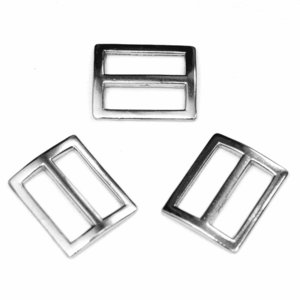 Metalen schuifgesp zilverkleurig RECHTHOEKIG 25 mm (10 stuks)