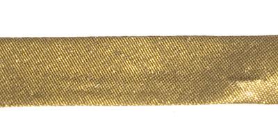 Goudkleurig (warm) gevouwen biaisband 13 mm (ca. 10 meter)