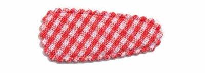Haarknip met haarkniphoesje rood-wit geruit 3 cm (ca. 100 stuks)