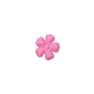 Applicatie bloem roze satijn effen mini 15 mm (ca. 100 stuks)