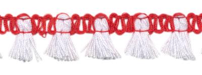 Band met kwastjes rood-wit 15 mm (ca. 16 meter)