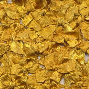 Satijnen strikjes oker geel (ca. 100 stuks)