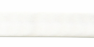 Gebroken wit / bruidswit gevouwen satijnen biaisband 20 mm (25 meter)