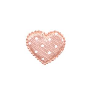 Applicatie hart zalm met witte stippen satijn klein 25 x 20 mm (ca. 25 stuks)