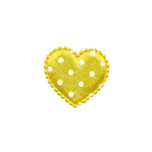 Applicatie hart geel met witte stippen satijn klein 25 x 20 mm (ca. 25 stuks)