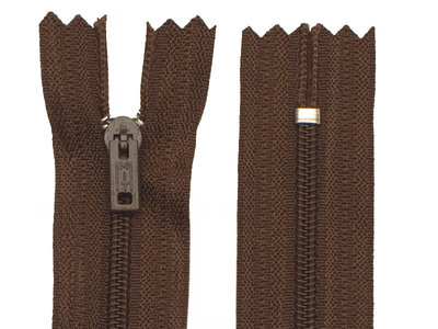 Niet-deelbare nylon rits 3 mm bruin (#570) 25 cm (12 stuks)