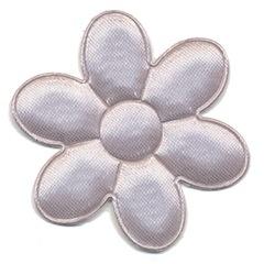 Applicatie bloem grijs satijn effen groot 45 mm (ca. 100 stuks)