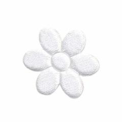 Applicatie bloem wit satijn effen middel 30 mm (ca. 100 stuks)
