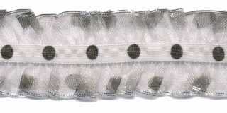 Wit-zwart roezel elastiek met stip 25 mm (ca. 10 meter)