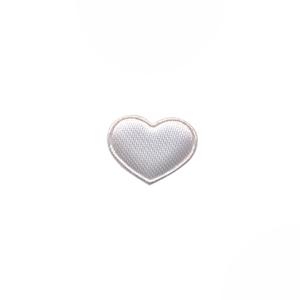 Applicatie hart wit satijn effen mini 15x12 mm (ca. 100 stuks)