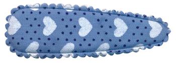 Haarkniphoesje blauw met stipjes en witte hartjes 5 cm (ca. 20 stuks)